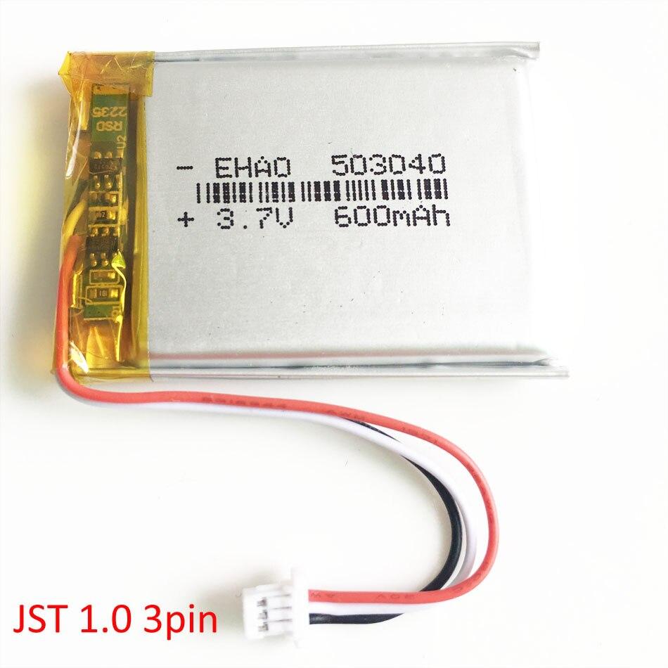 503040 3,7 V 600mAh akku mit JST 1,0mm 3 pin stecker Lithium-Polymer Batterie Für Mp3 DVD kamera GPS bluetooth