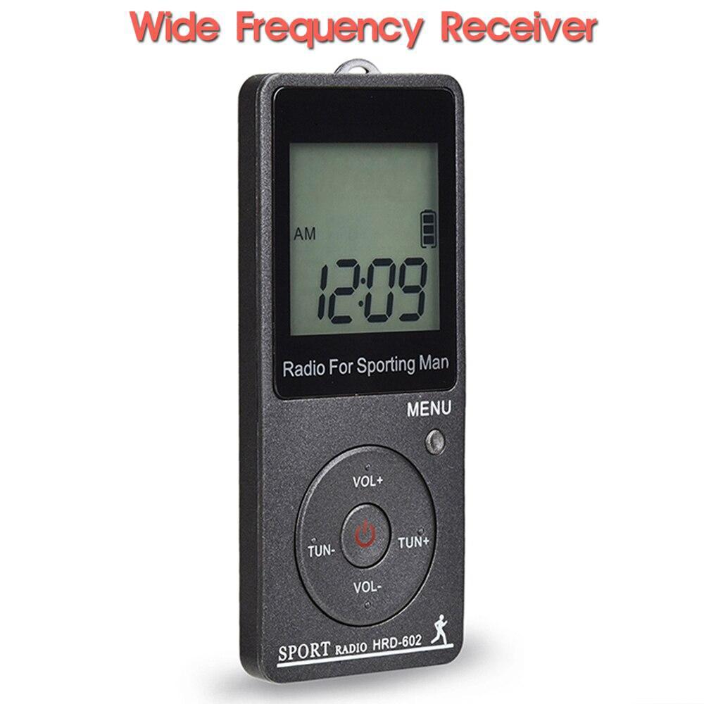 Jinserta rádio portátil fm/am receptor mini bolso rádio com display lcd botão de bloqueio fone de ouvido suporte totalmente automático busca