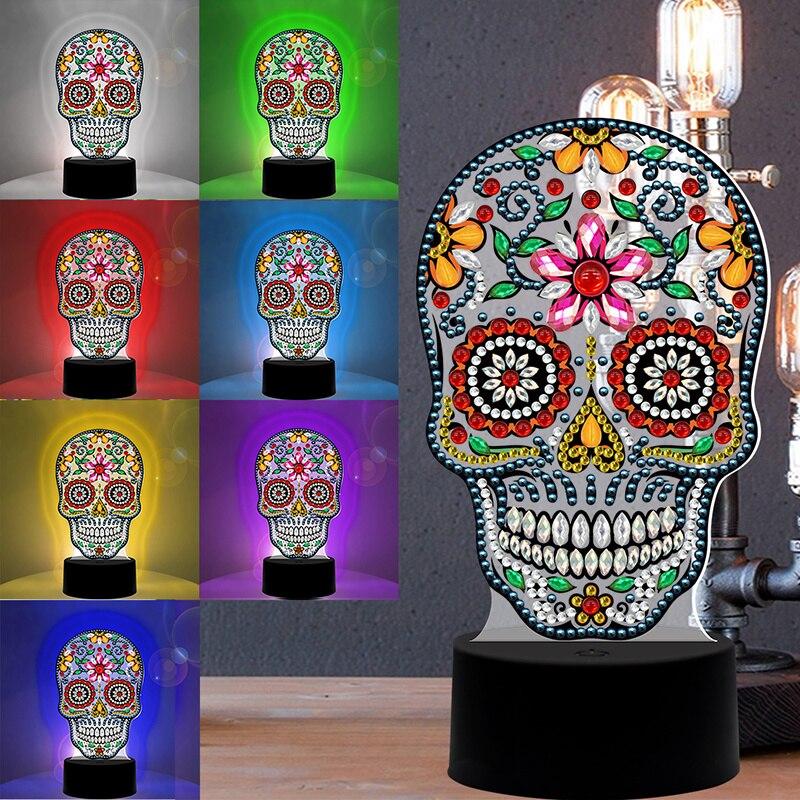 Светодиодный настольный светильник с алмазной краской для детей, 5D алмазная Вышивка крестиком, Ночной светильник, краска по номеру, набор д...