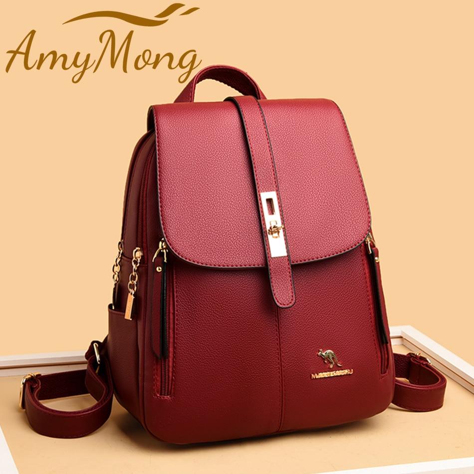 Женский Классический рюкзак, кошельки, дизайнерский рюкзак с защитой от кражи, высококачественный кожаный рюкзак, роскошный женский дорожн...