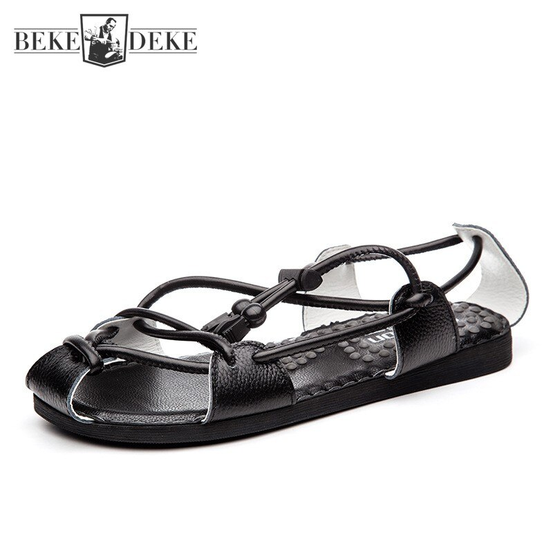 New 2021 Summer Outdoor Mens Sandal Cowhide Genuine Leather Flat Shoes Casual Open Toe Drawstring Bl