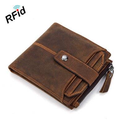 Billetera promocional para hombres Vintage Feng Ma Pi Duo Ka Wei, billetera RFID antimagnética, cepillo antirrobo, billetera de cuero corta, caja masculina