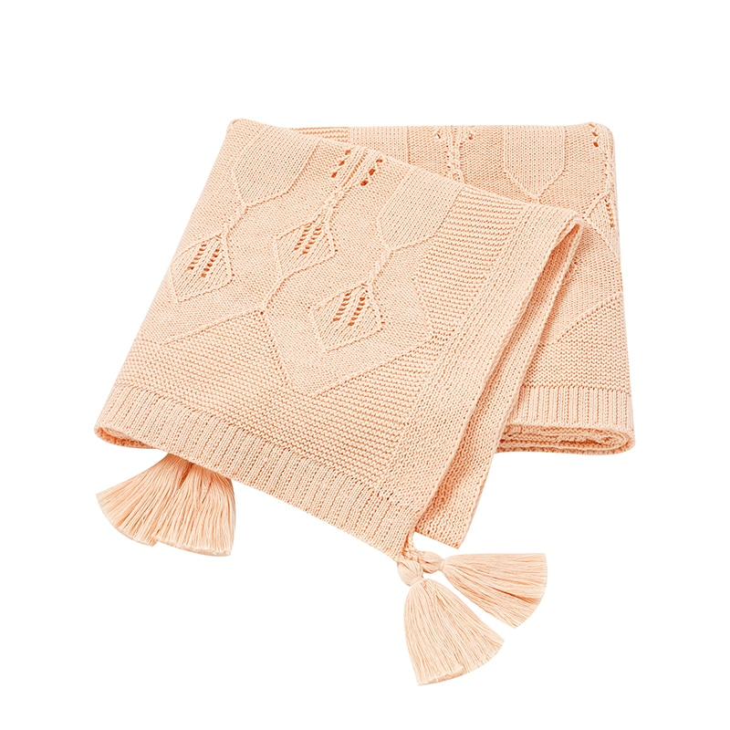 Soft Baby Blankets Swaddle Wrap Tassel Children Knitted Quilts Cover Solid Color Newborn Baby Stroller Bedding Basket Blanket modern baby quilts