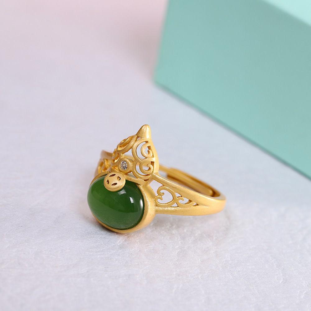 Цвет-нефрита-Тыква-кольца-для-женщин-камень-амулеты-jadeite-Зеленый-дизайнер-925-серебро-Настоящее-ювелирное-изделие-винтажная-натуральная-под