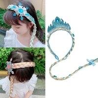 new girls cute blue princess bow crystal hair band %d0%b4%d0%b8%d1%82%d1%8f%d1%87%d1%83 girl kids cartoon wig braid headband christmas hair accessories clip