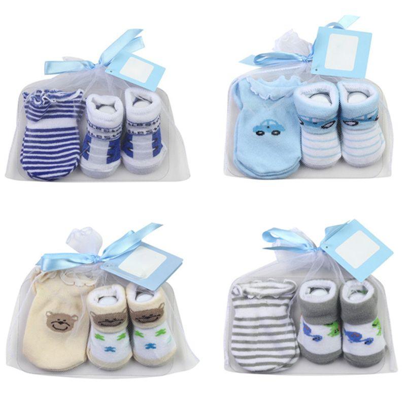 Bebê meias + luvas anti-risco conjunto para bebê meninos infantil 0-6 meses presentes recém-nascidos
