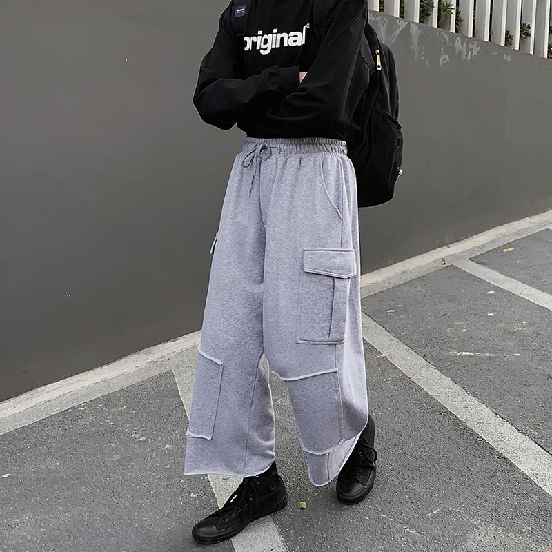 Jogger Sweatpants Men Loose Casual Wide Leg Cargo Pants Elastic Waist Straight Harem Pants Male Japan Streetwear Hip Hop Trouser