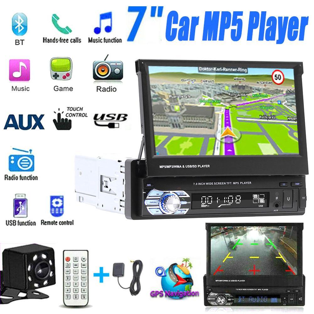 7inch Auto Stereo audio Radio GPS Navigation Versenkbare autoradio mit BT DVD MP5 SD FM USB-Player Rückansicht kamera