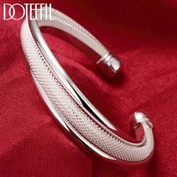 doteffil 925 sterling silver fashion jewelry large reticulated bracelet women bangle wedding engagement jewelry