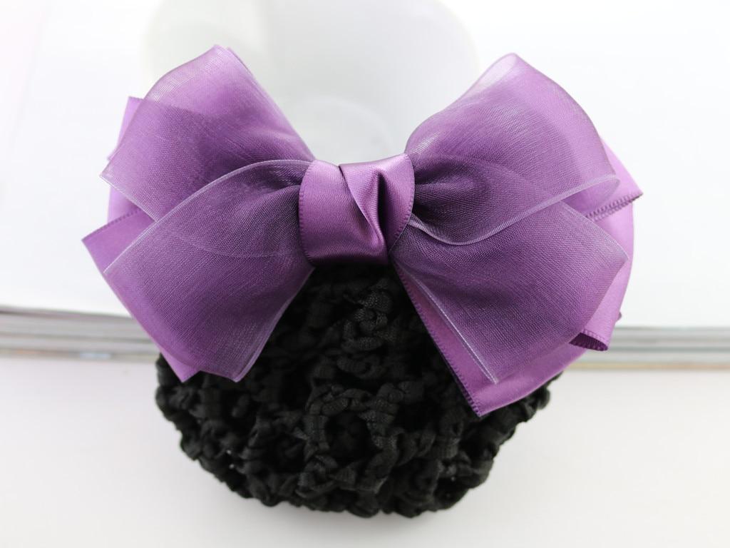 Professional hair accessories nurse bank hotel stewardess work net bag bow hair net diamond drill flower handmade gift FS035