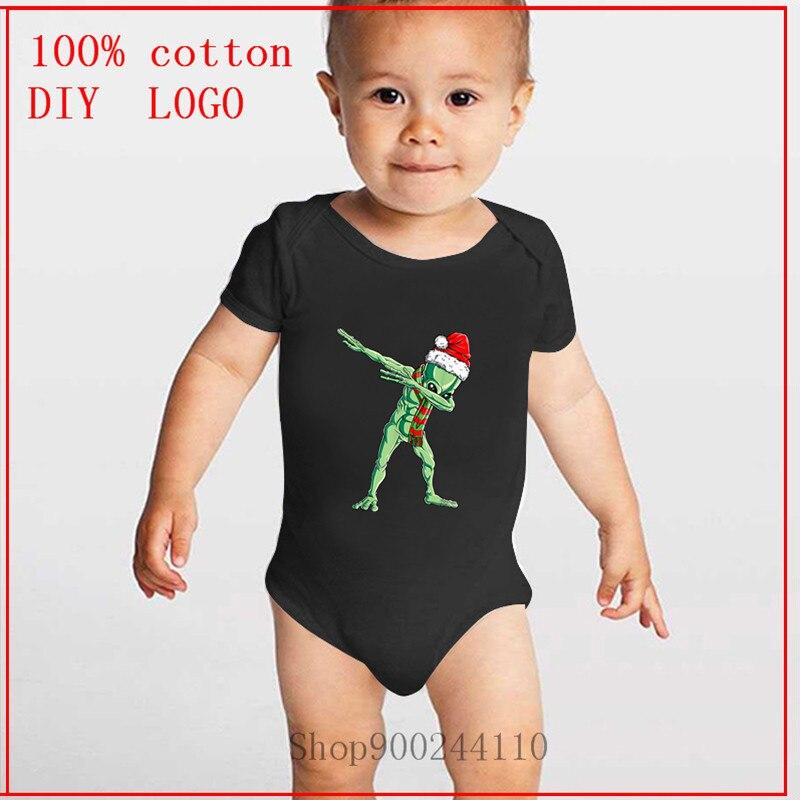 Dabbing alienígena de Santa de Navidad de los niños hombres OVNI amantes regalo de Navidad impreso bebé verano ropa Pelele de cartones animados de manga corta