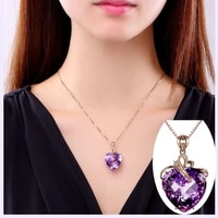 luxury heart shaped amethyst pendant 18k gold colored natural gems necklace for women sapphire pendant jewelry free gift bo
