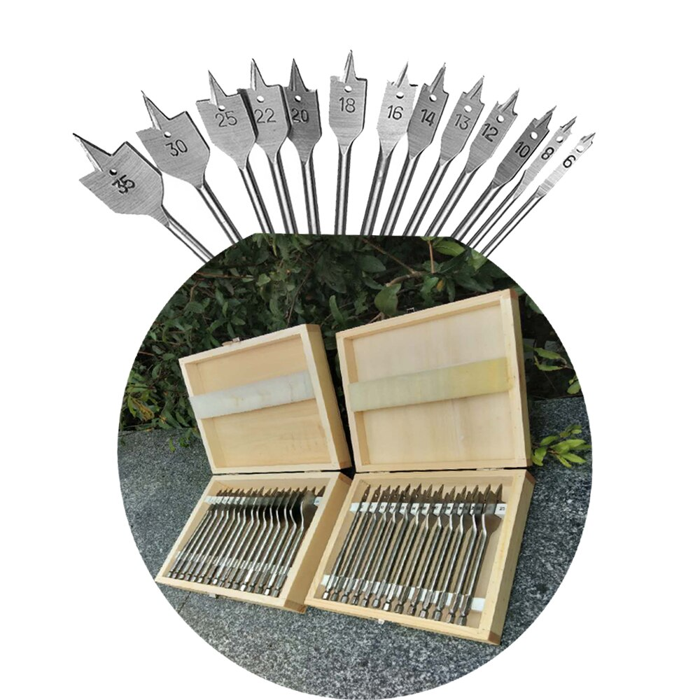 HIGH quality 16/13 Pcs 6-38mm Spade Drill Bit Set High Speed Steel Wood Drill Bit Set for Woodworking
