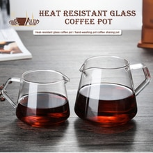 400ML-600ML taza de café de cristal para compartir el servidor de café para verter el hogar elaboración de la taza de café hecha a mano tetera de goteo de hielo