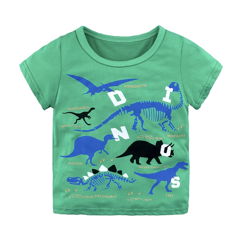 Baby Boy T shirt Kids Clothes Print Children Summer Toddler Boys Cartoon Short Sleeve Animals T shirts O-neck Kids T shirts недорого