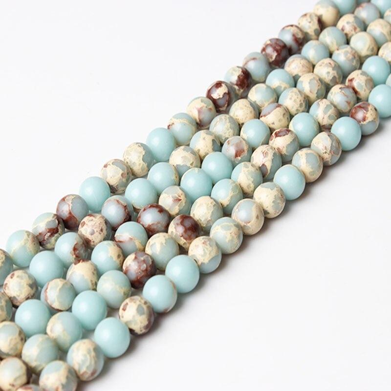 LIngXiang fashion Natural jewelry  6/8mm Sky blue Snakeskin Shoushan stones loose beads DIY Bracelet neckace make