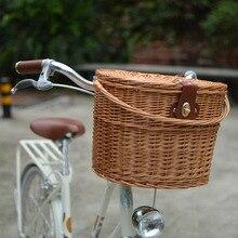 Panier de vélo de banlieue rétro sans couverture rotin tissé à la main rétro vélo panier rotin osier Vintage vélo panier avec couvercle