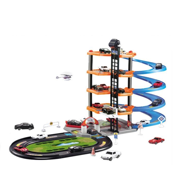 Crianças tamanho grande montado estacionamento câmera pista carro brinquedo manual diy educação precoce cinco níveis faixas de plástico com 5 carro livre