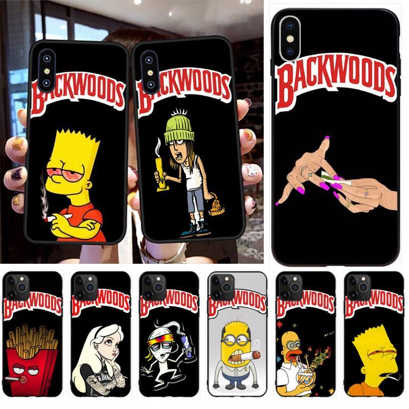 NBDRUICAI Simpson hierba fumar bosque cubierta Negro Estuche para teléfono suave para iPhone 11 pro XS MAX 8 7 6 6S Plus X 5S SE XR caso