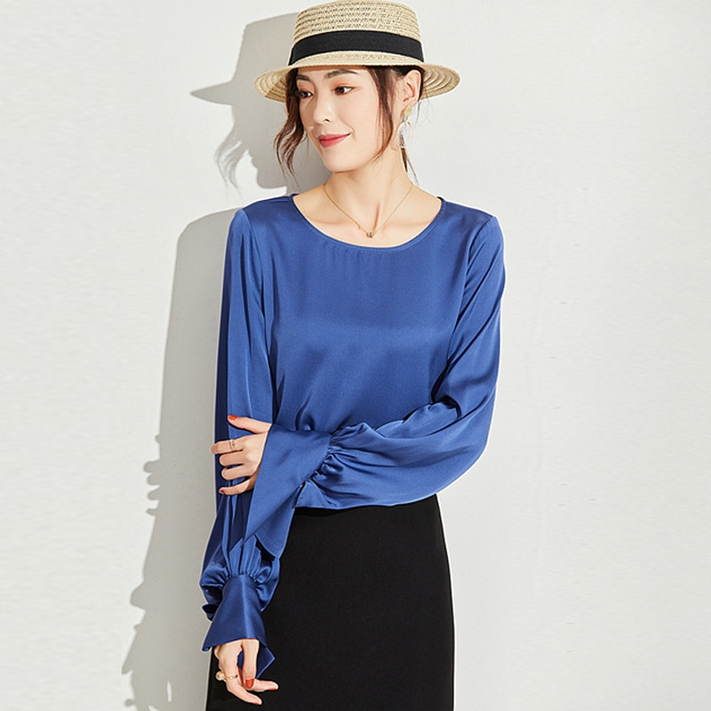 100% Heavy Silk Blouse Women Shirt Casual Style O Neck Long Sleeves 3 Colors High Quality Fabric Simple Desig Top New Fashion