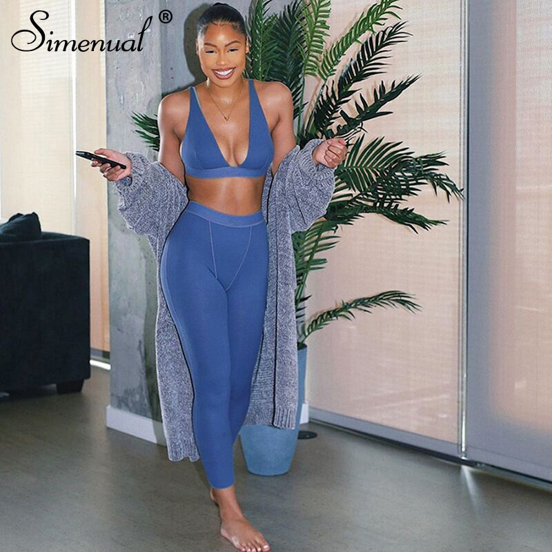 Simenual Sporty Casual Workout Two Piece Set Women V Neck Backless Tank Top And Pants Sets Sleeveless Street Style Active Wear