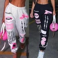 echoine casual letter print hip hop pants women hight waist graphic sweatpants summer loose casual cartoon harajuku
