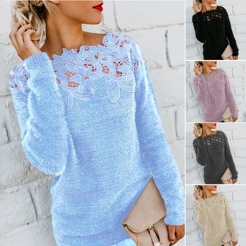 Plus size dress Sweater apparel Women Solid Color Long Sleeve O Neck Floral Lace Pullover Plus Size Sweater plus size floral handkerchief hem cami dress