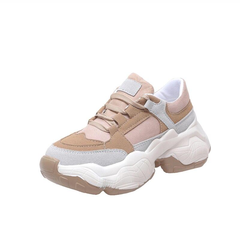 Nuevos zapatos informales de otoño 2019 para mujer, zapatillas con plataforma para estudiantes con punta redonda y cordones de 5 cm, zapatos planos cómodos 40