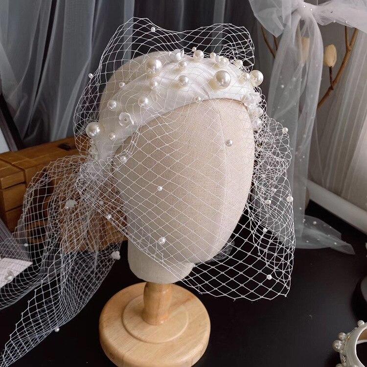 Nova superfície malha pérola bandana nupcial headdress maquiagem estilo noiva acessórios de cabelo