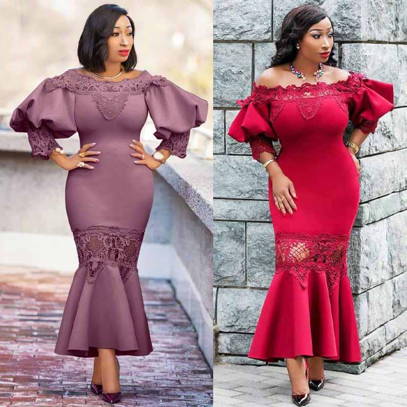Элегантное платье-Русалка, женские вечерние облегающие платья с оборками, вышитые африканские халаты в стиле пэчворк, праздничное платье М...