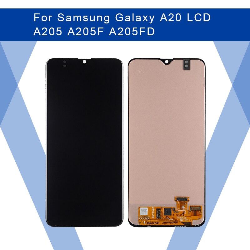 Para SAMSUNG Galaxy A20 A205 A205F A205FD LCD Pantalla AMOLED + Panel táctil digitalizador montaje para SAMSUNG pantalla Original