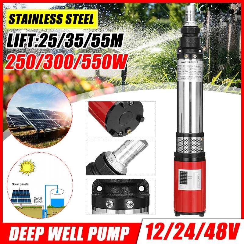 12/24/48V 55m haute pression solaire Submersible pompe à eau DC vis profonde bien pompe agricole dirrigation jardin maison