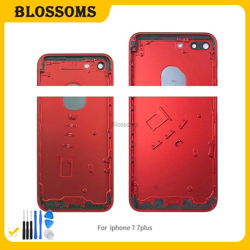 Carcasa trasera de alta calidad para iPhone 7 7G Plus 7Plus, cubierta de batería, chasis de Marco medio con botones laterales, piezas de reparación de bandeja Sim