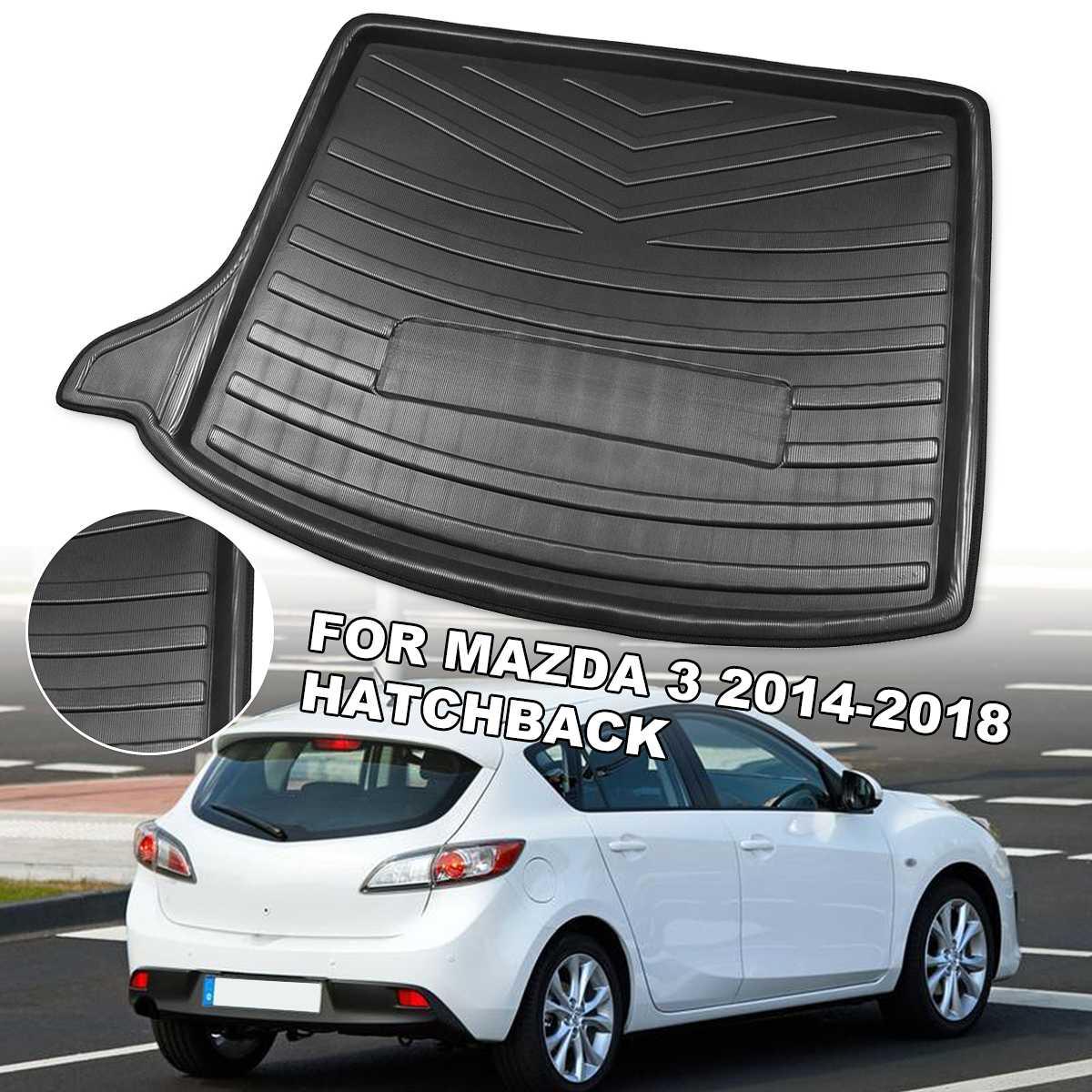 Car Rear Trunk Cargo Liner Boot Tray Cover Matt Mat Floor Carpet Kick Pad For Mazda 3 2014 2015 2016 2017 2018 hatchback