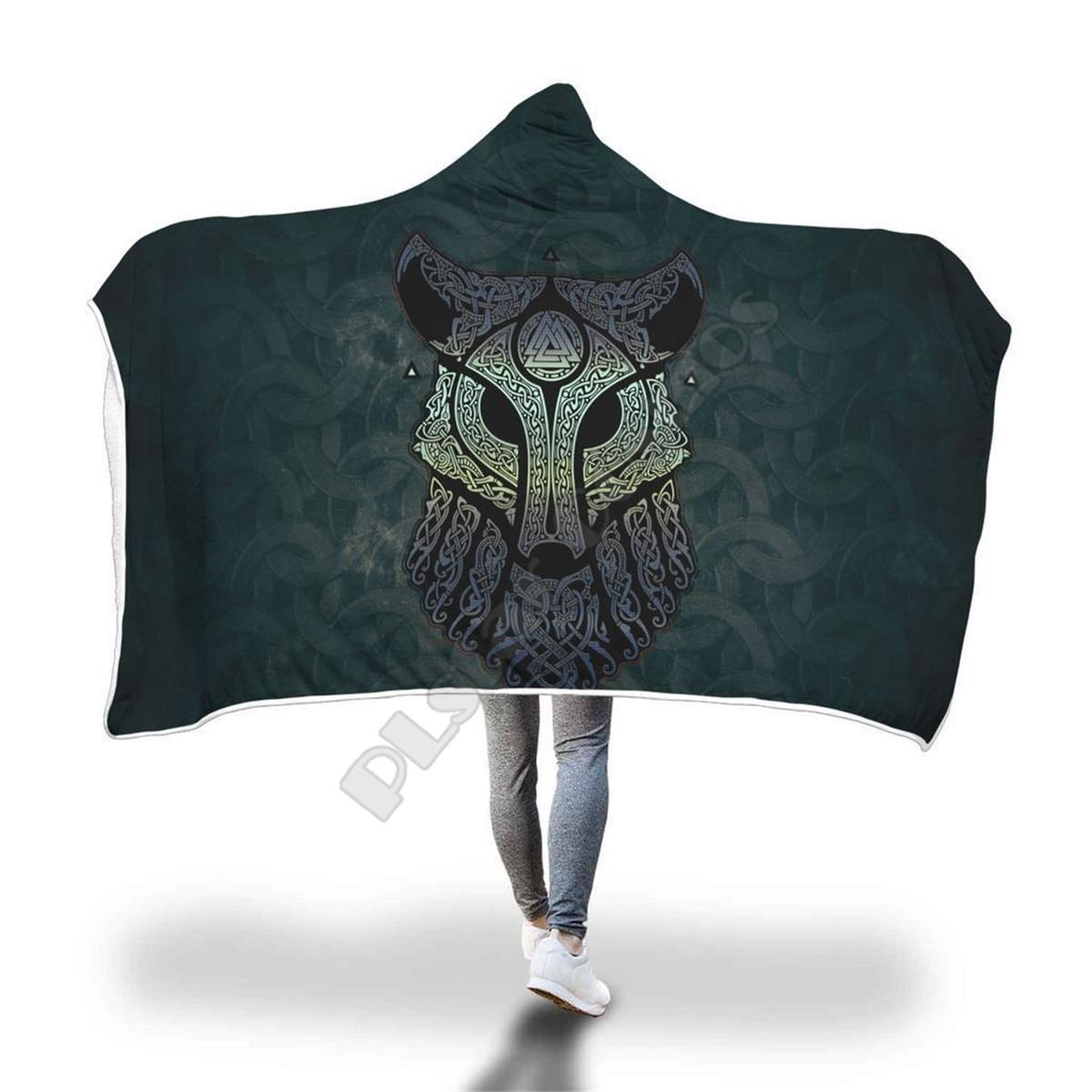 بطانية بغطاء للرأس من فايكنغ وولف للبالغين والأطفال ، بطانية شيربا من الصوف ، يمكن ارتداؤها ، مصنوعة من الألياف الدقيقة ، نمط الفراش-14