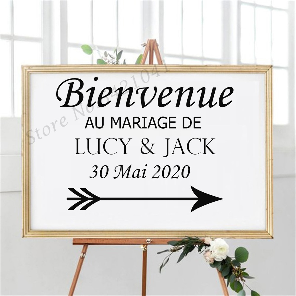 French Vinyl Stickers for Wedding Signs Wedding Welcome Sign Vinyl Decal Special Day Wedding Decoration Name Decals