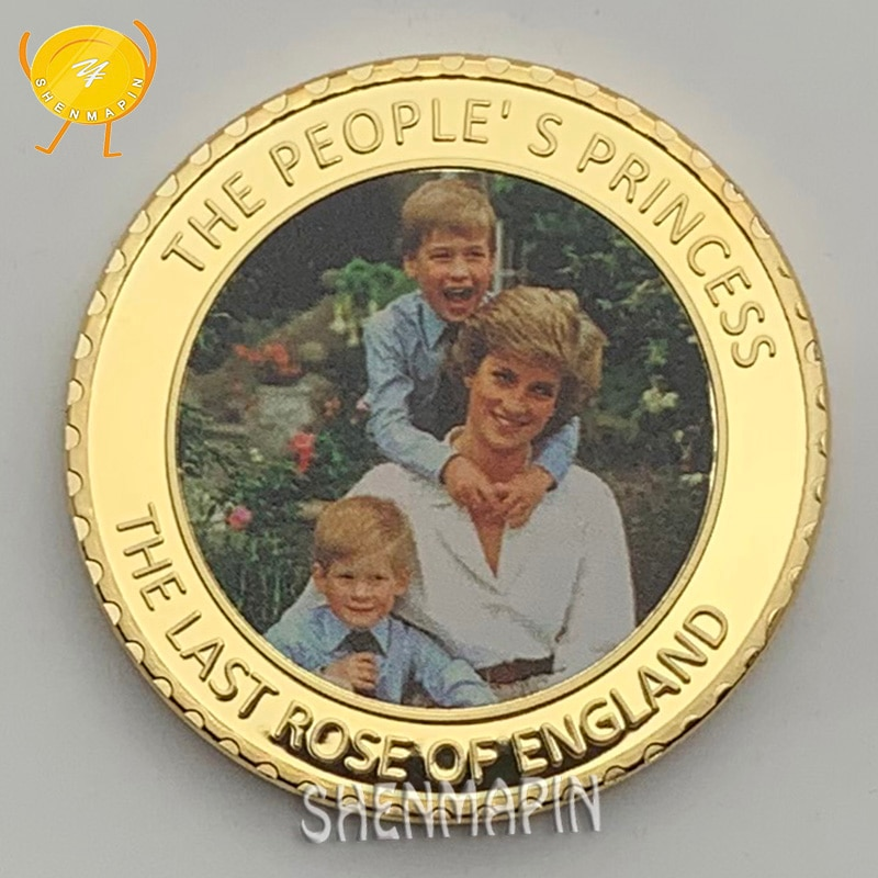 Princess Diana, Prince William and Prince Harry Commemorative Coin The People of England's Princess Gold Coins Collectibles