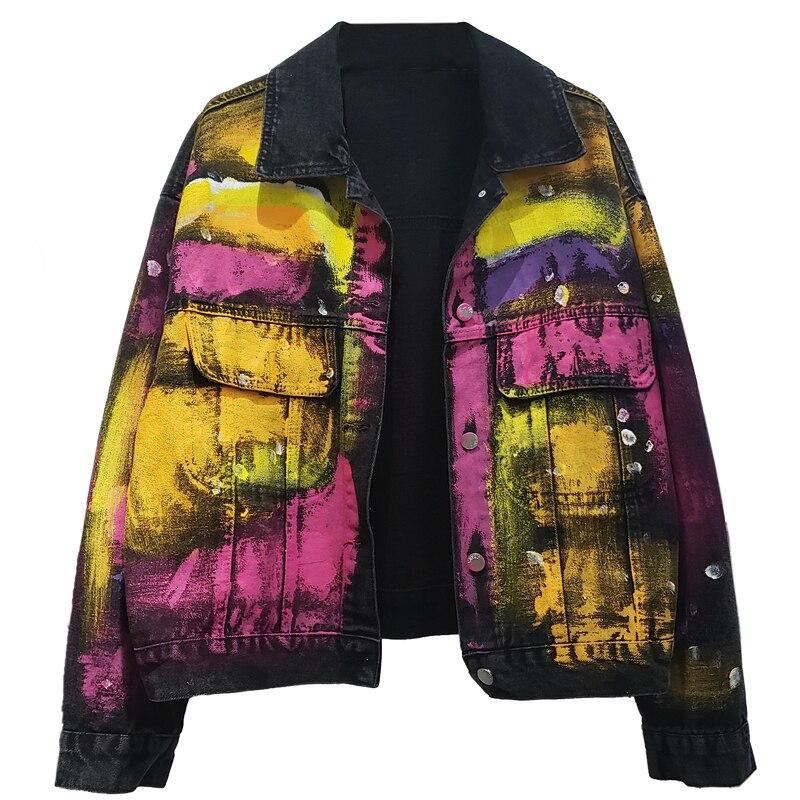 Куртка женская джинсовая свободного покроя, уличная одежда из денима в стиле граффити, короткая черная верхняя одежда, на весну-осень