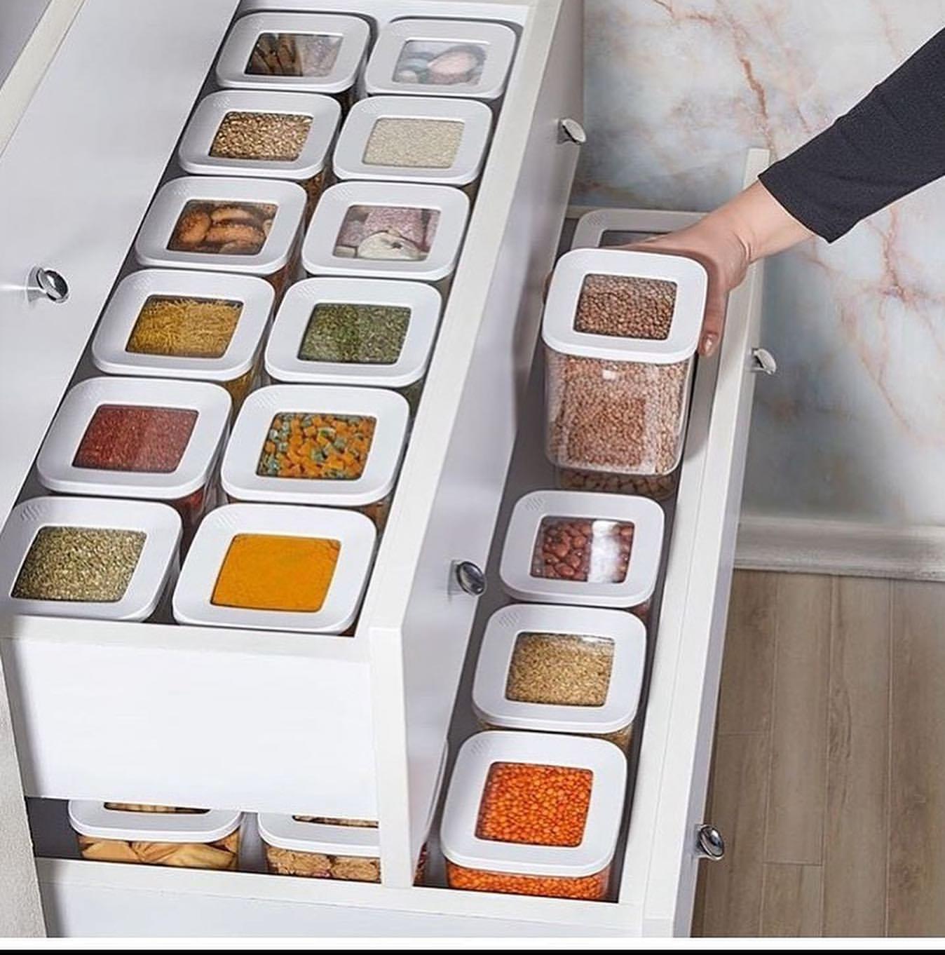 12 قطع منظم مطبخ صندوق تخزين عالية الجودة علبة الغذاء مجموعة فراغ غطاء مخزن زجاجة التوابل البقوليات السباغيتي الأرز الحبوب