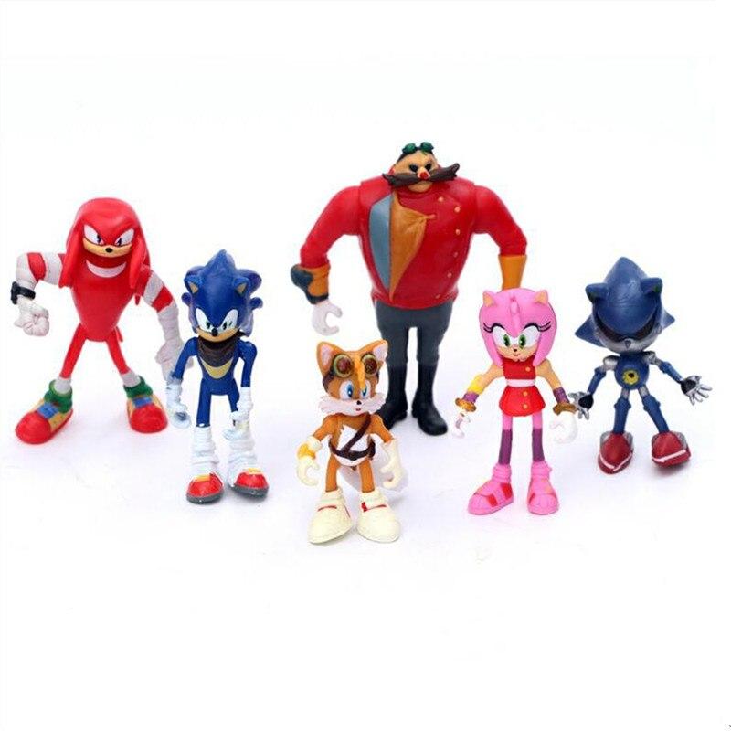 6 unids/set Sonic muñeco de anime figura juguetes 4st generación Boom raro Dr Eggman sombra PVC juguetes personajes figura para niños regalo