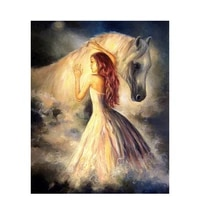 girl with horse canvas hand painted abstract diy oil painting paintworks paint by number for adults 16x20 inch home decor
