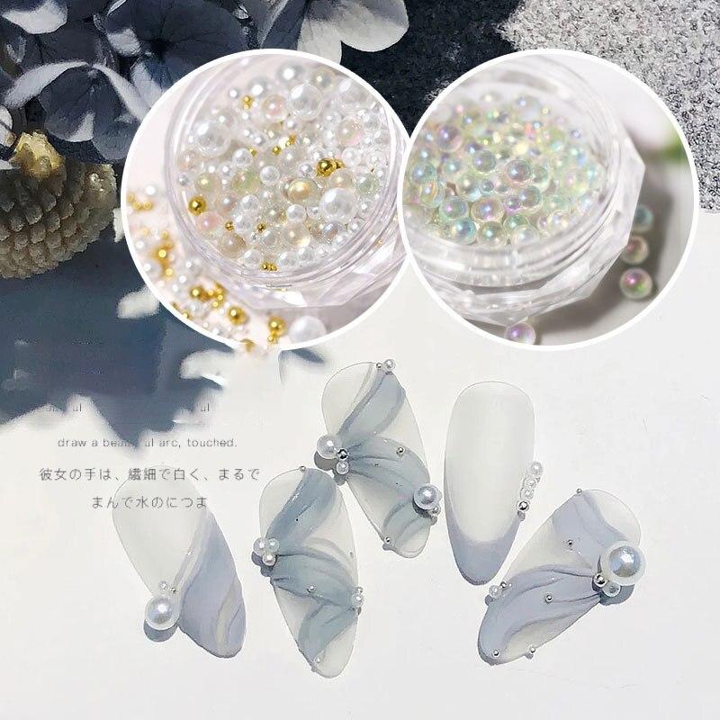 Perlas de media perlas blancas para decoración de uñas, 1 frasco con diferentes tamaños, perlas de imitación para decoración de uñas en 3d, salón de belleza, manualidades suministros para manicura