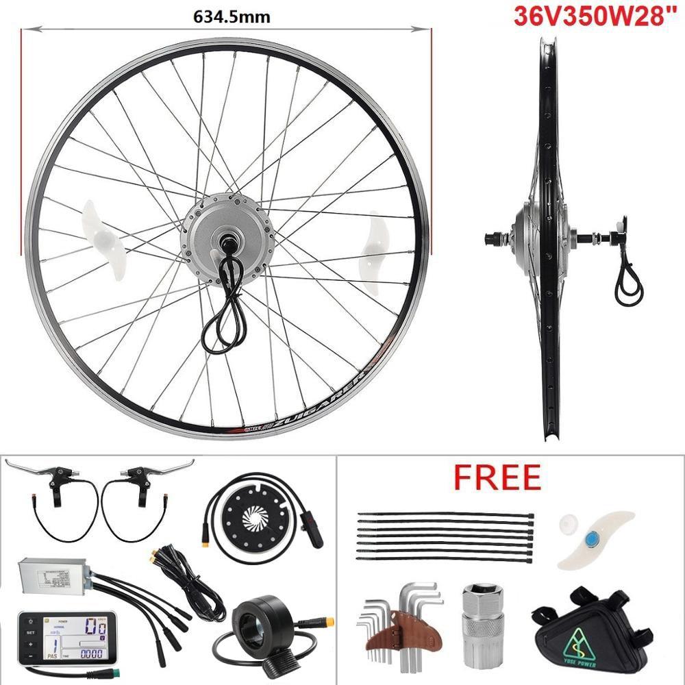 YOSE-Bicicleta eléctrica de potencia, Kit de rueda con Motor de cubo trasero de 36V, 350W y 28 para Motor de conversión de bicicleta eléctrica, kit de bicicleta eléctrica
