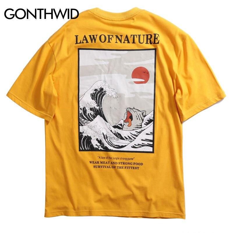 GONTHWID Japanese Ukiyo Cat Wave Printed Streetwear T Shirts 2020 Summer Mens Hip Hop Casual Short Sleeve Tops Tees Male Tshirts