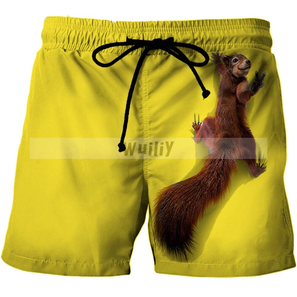 Новые мужские пляжные шорты с животными, шорты-бермуды с 3D-принтом, мужские спортивные шорты, плавательные трусы