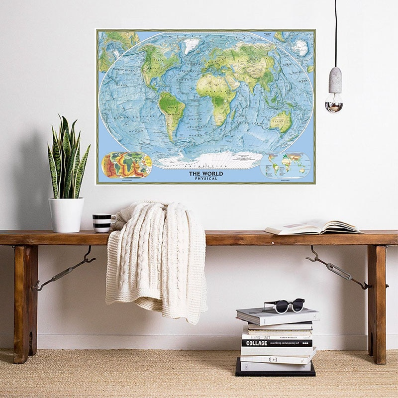 magic world map wallpaper wall stickers for kids rooms bedroom sticker painting poster home decoration accessories A2 Size 2005 World Physical Map Retro Canvas Painting Wall Art Poster Wall Stickers Card Living Room Home Decoration