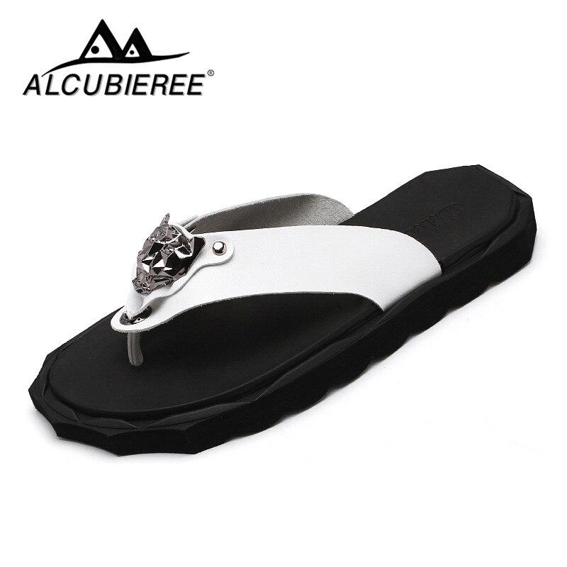 Chinelos de Couro Chinelos de Luxo Verão para Homens Sapatos de Moda Alta Qualidade Sapatos Marca Praia Sandálias Casuais Branco