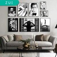 Affiche en toile noire et blanche pour femmes  retro  impression dart nordique  image minimaliste  decoration de salle de maison