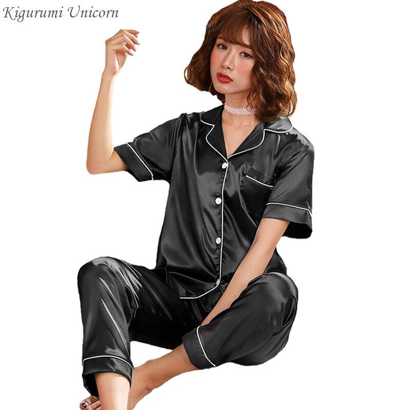 Conjunto de pijama de seda de manga corta, pijamas de primavera y verano del 2020 para mujer, pijama sencillo de Color puro de 2 uds, ropa de dormir de talla grande 3XL 4XL 5XL