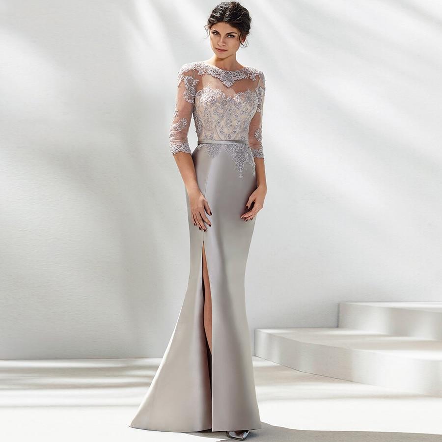 Plus Size Mother Of The Bride Dresses Mermaid Half Sleeves Appliques Beaded Slit Long Elegant Groom